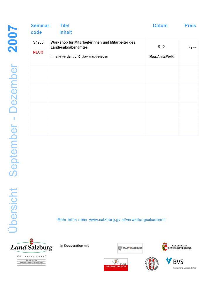 Übersicht September - Dezember 2007 in Kooperation mit Seminar- code Titel Inhalt DatumPreis S4955 NEU!.