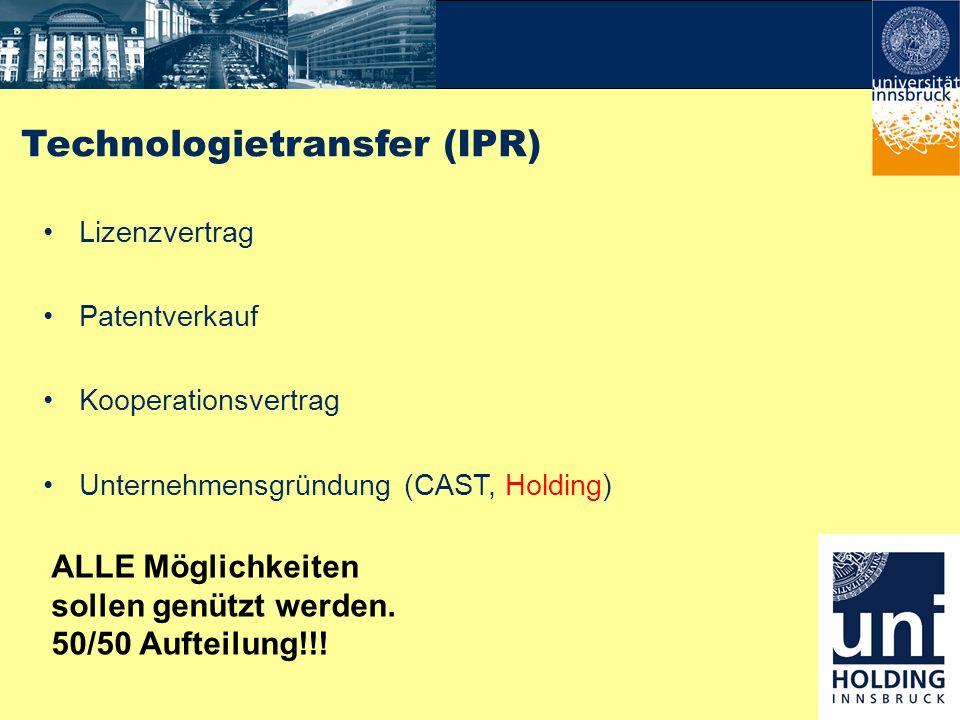 Technologietransfer (IPR) Lizenzvertrag Patentverkauf Kooperationsvertrag Unternehmensgründung (CAST, Holding) ALLE Möglichkeiten sollen genützt werde