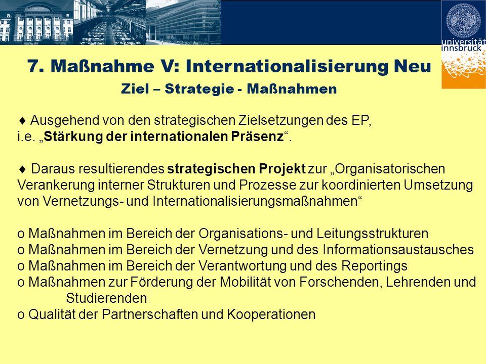 7. Maßnahme V: Internationalisierung Neu Ziel – Strategie - Maßnahmen Ausgehend von den strategischen Zielsetzungen des EP, i.e. Stärkung der internat