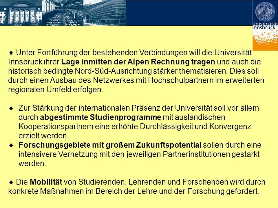 Unter Fortführung der bestehenden Verbindungen will die Universität Innsbruck ihrer Lage inmitten der Alpen Rechnung tragen und auch die historisch be
