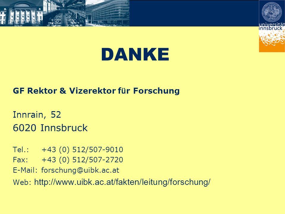 DANKE GF Rektor & Vizerektor f ü r Forschung Innrain, 52 6020 Innsbruck Tel.:+43 (0) 512/507-9010 Fax:+43 (0) 512/507-2720 E-Mail:forschung@uibk.ac.at