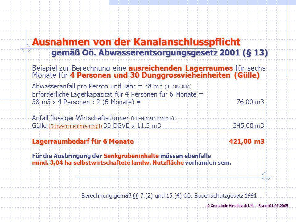 © Gemeinde Hirschbach i. M. – Stand 01.07.2005 © Gemeinde Hirschbach i. M. – Stand 01.07.2005 Abwasseranfall pro Person und Jahr = 38 m3 (lt. ÖNORM) E