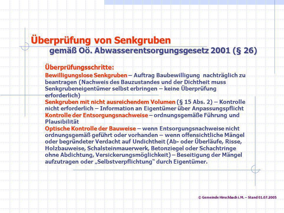 © Gemeinde Hirschbach i. M. – Stand 01.07.2005 © Gemeinde Hirschbach i. M. – Stand 01.07.2005 Überprüfungsschritte: Bewilligungslose Senkgruben Bewill