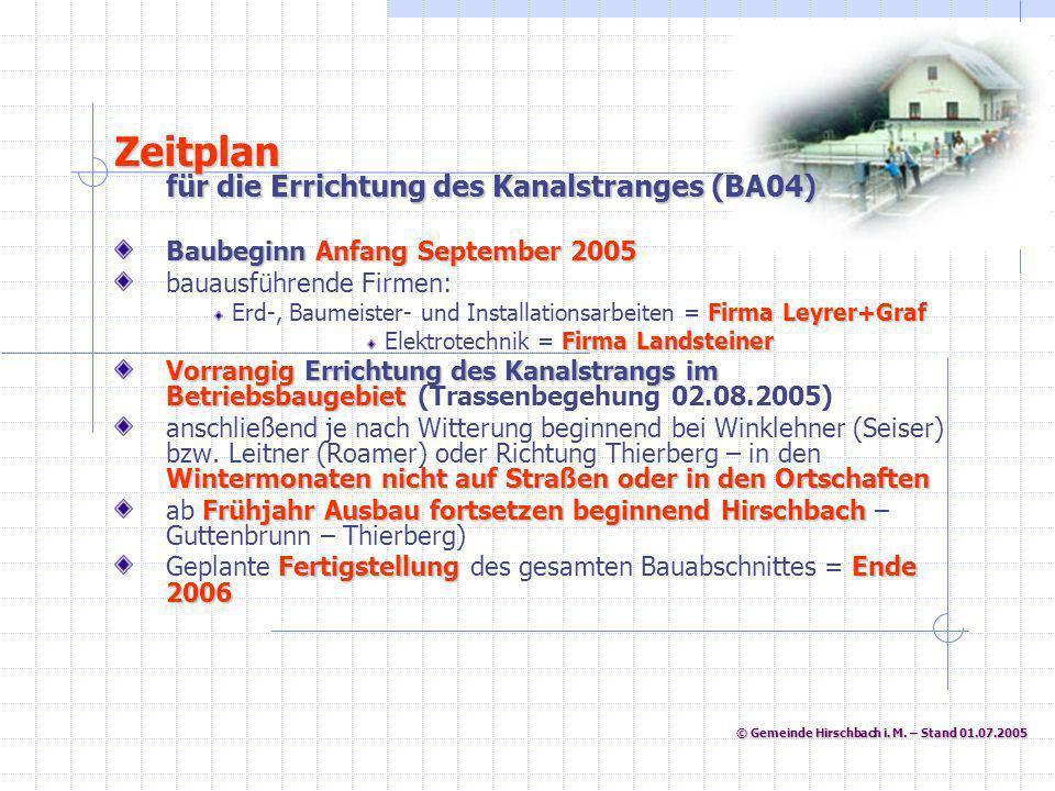 © Gemeinde Hirschbach i. M. – Stand 01.07.2005 © Gemeinde Hirschbach i. M. – Stand 01.07.2005 Zeitplan für die Errichtung des Kanalstranges (BA04) Bau