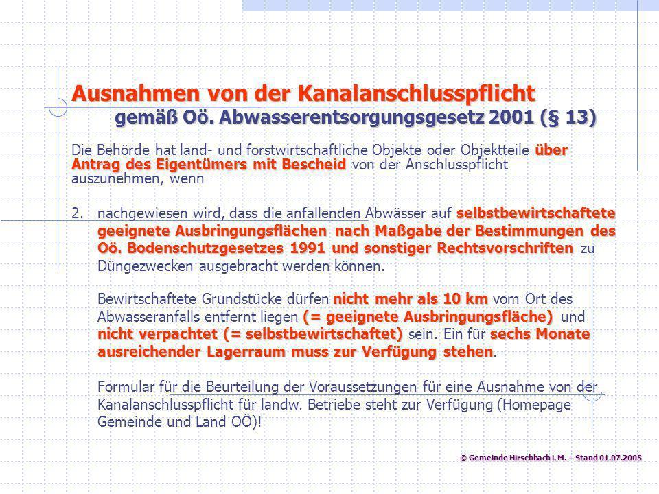 © Gemeinde Hirschbach i. M. – Stand 01.07.2005 © Gemeinde Hirschbach i. M. – Stand 01.07.2005 selbstbewirtschaftete geeignete Ausbringungsflächen nach