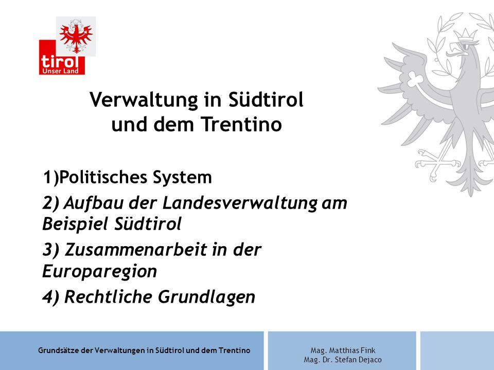 Grundsätze der Verwaltungen in Südtirol und dem TrentinoMag. Matthias Fink Mag. Dr. Stefan Dejaco Verwaltung in Südtirol und dem Trentino 1)Politische