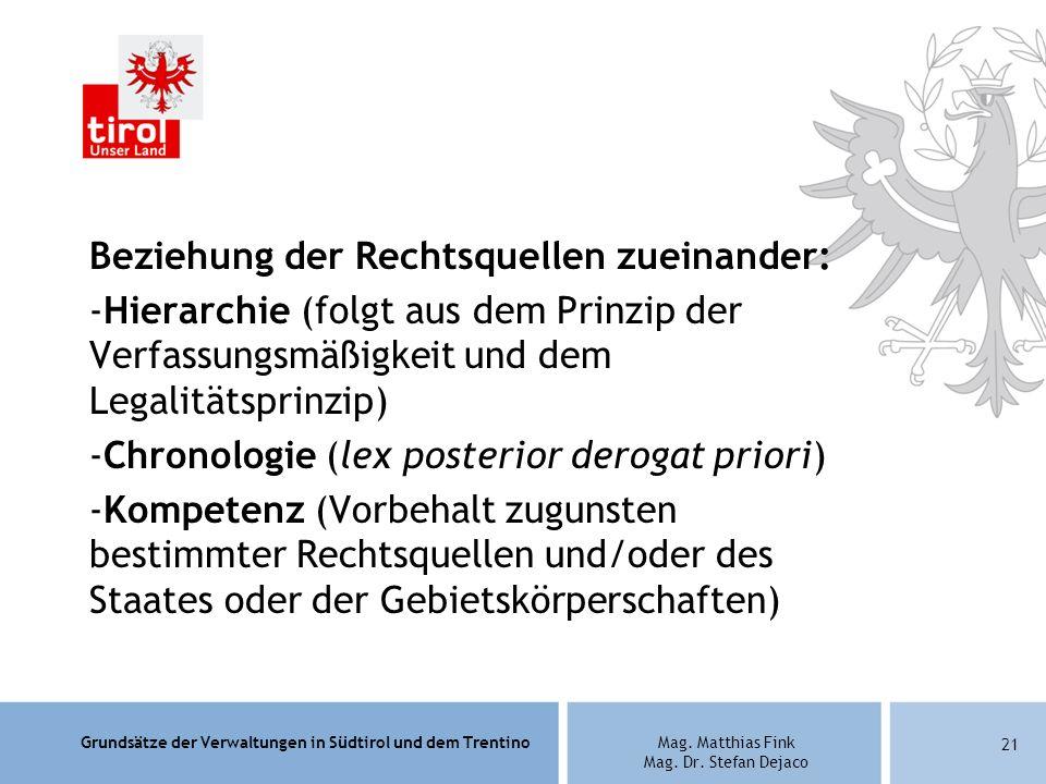 Grundsätze der Verwaltungen in Südtirol und dem TrentinoMag. Matthias Fink Mag. Dr. Stefan Dejaco Beziehung der Rechtsquellen zueinander: -Hierarchie