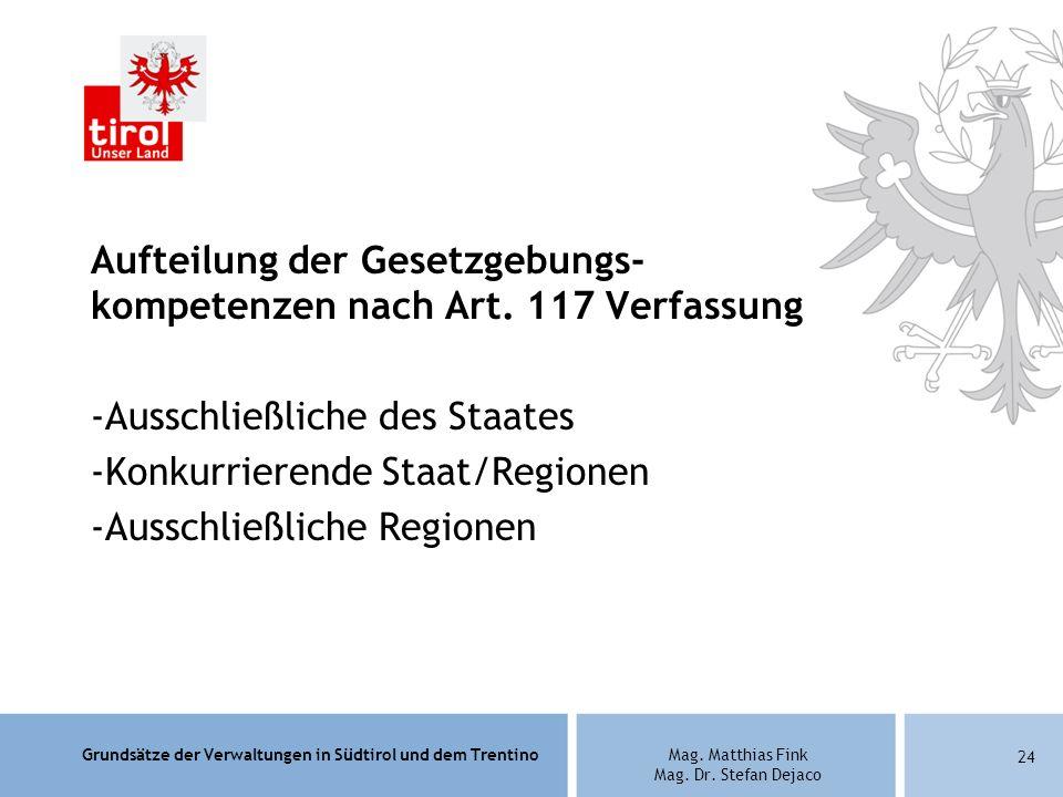 Grundsätze der Verwaltungen in Südtirol und dem TrentinoMag. Matthias Fink Mag. Dr. Stefan Dejaco Aufteilung der Gesetzgebungs- kompetenzen nach Art.
