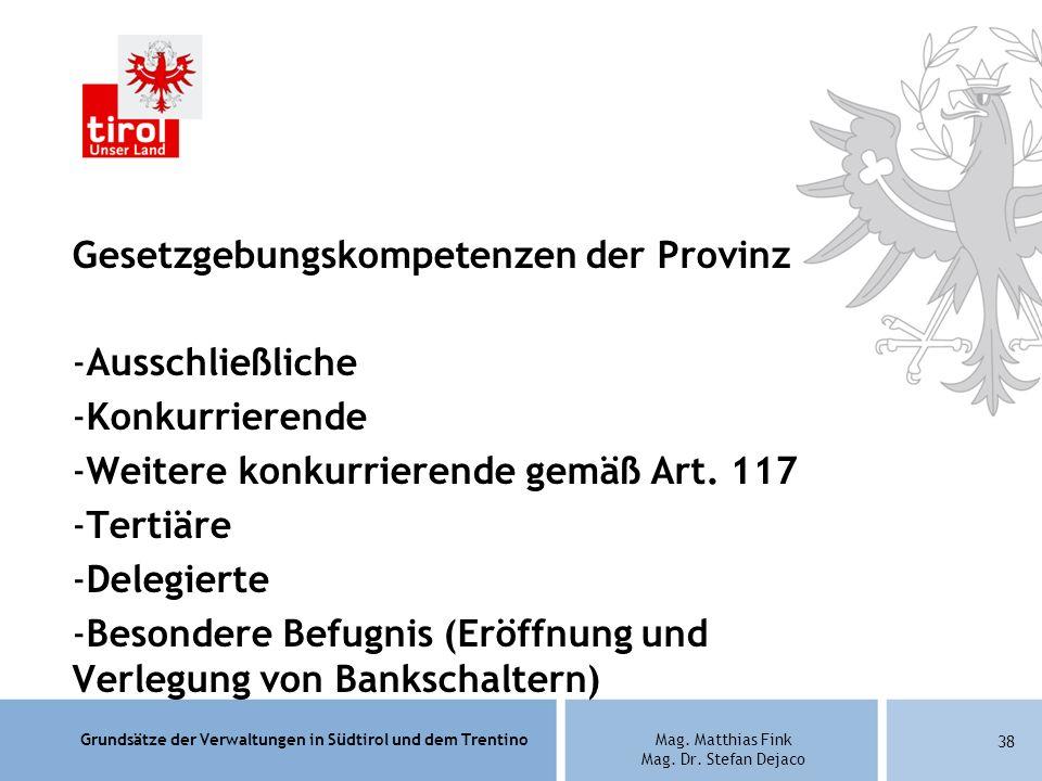 Grundsätze der Verwaltungen in Südtirol und dem TrentinoMag. Matthias Fink Mag. Dr. Stefan Dejaco Gesetzgebungskompetenzen der Provinz -Ausschließlich