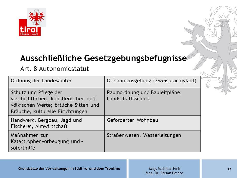 Grundsätze der Verwaltungen in Südtirol und dem TrentinoMag. Matthias Fink Mag. Dr. Stefan Dejaco Ausschließliche Gesetzgebungsbefugnisse Art. 8 Auton