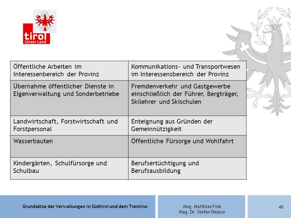 Grundsätze der Verwaltungen in Südtirol und dem TrentinoMag. Matthias Fink Mag. Dr. Stefan Dejaco 40 Öffentliche Arbeiten im Interessenbereich der Pro