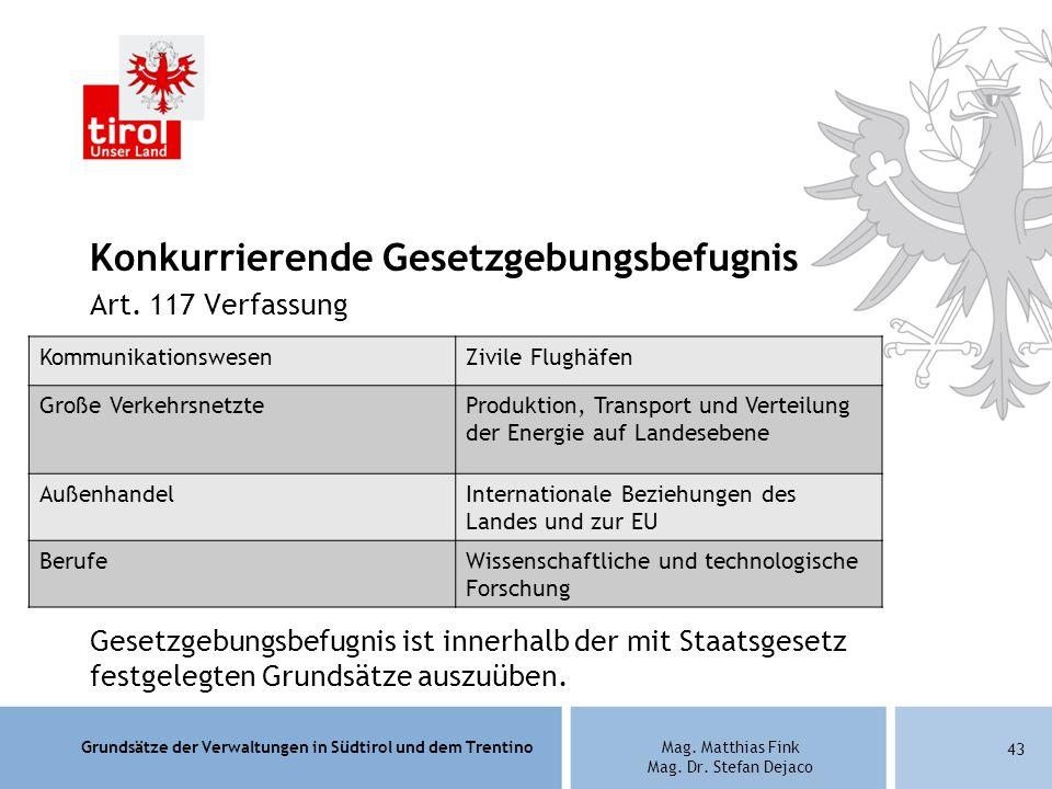 Grundsätze der Verwaltungen in Südtirol und dem TrentinoMag. Matthias Fink Mag. Dr. Stefan Dejaco Konkurrierende Gesetzgebungsbefugnis Art. 117 Verfas