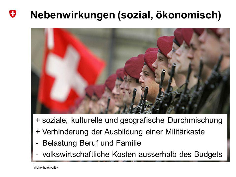 Sicherheitspolitik Nebenwirkungen (sozial, ökonomisch) + soziale, kulturelle und geografische Durchmischung + Verhinderung der Ausbildung einer Militä