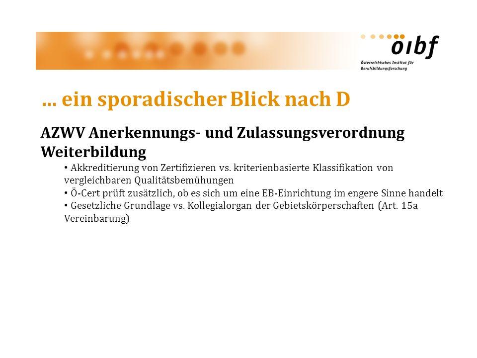 … ein sporadischer Blick nach D AZWV Anerkennungs- und Zulassungsverordnung Weiterbildung Akkreditierung von Zertifizieren vs.
