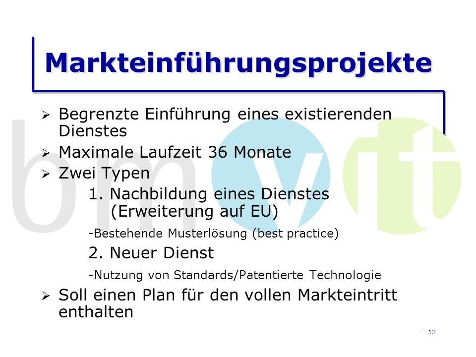 - 12 Markteinführungsprojekte Begrenzte Einführung eines existierenden Dienstes Maximale Laufzeit 36 Monate Zwei Typen 1.