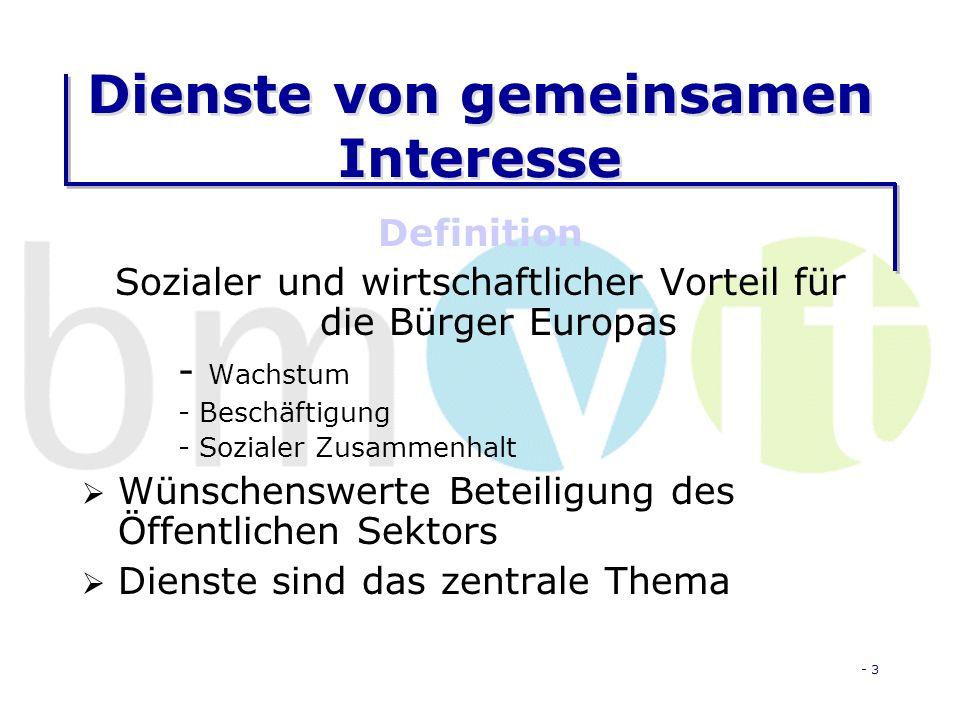 - 3 Dienste von gemeinsamen Interesse Definition Sozialer und wirtschaftlicher Vorteil für die Bürger Europas - Wachstum - Beschäftigung - Sozialer Zusammenhalt Wünschenswerte Beteiligung des Öffentlichen Sektors Dienste sind das zentrale Thema