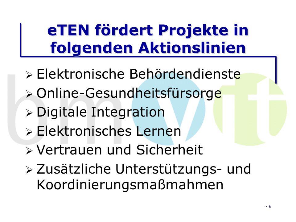 - 5 eTEN fördert Projekte in folgenden Aktionslinien Elektronische Behördendienste Online-Gesundheitsfürsorge Digitale Integration Elektronisches Lernen Vertrauen und Sicherheit Zusätzliche Unterstützungs- und Koordinierungsmaßmahmen