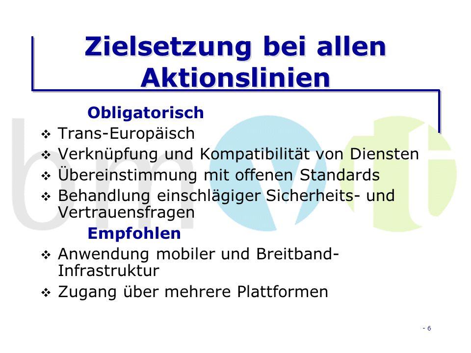 - 6 Zielsetzung bei allen Aktionslinien Obligatorisch Trans-Europäisch Verknüpfung und Kompatibilität von Diensten Übereinstimmung mit offenen Standards Behandlung einschlägiger Sicherheits- und Vertrauensfragen Empfohlen Anwendung mobiler und Breitband- Infrastruktur Zugang über mehrere Plattformen
