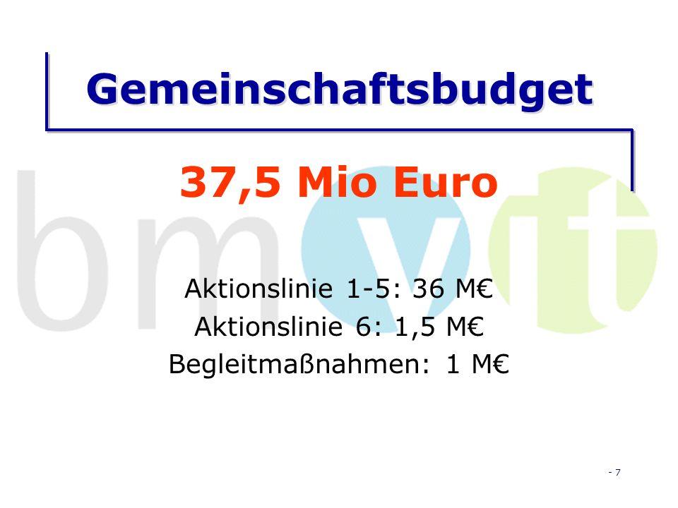- 7 Gemeinschaftsbudget 37,5 Mio Euro Aktionslinie 1-5: 36 M Aktionslinie 6: 1,5 M Begleitmaßnahmen: 1 M