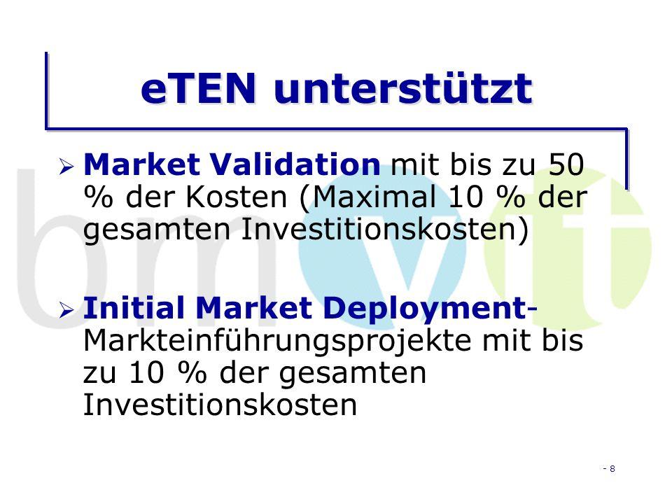 - 8 eTEN unterstützt Market Validation mit bis zu 50 % der Kosten (Maximal 10 % der gesamten Investitionskosten) Initial Market Deployment- Markteinführungsprojekte mit bis zu 10 % der gesamten Investitionskosten