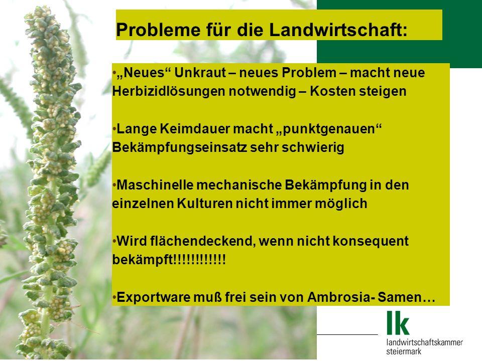 Probleme für die Landwirtschaft: Neues Unkraut – neues Problem – macht neue Herbizidlösungen notwendig – Kosten steigen Lange Keimdauer macht punktgen