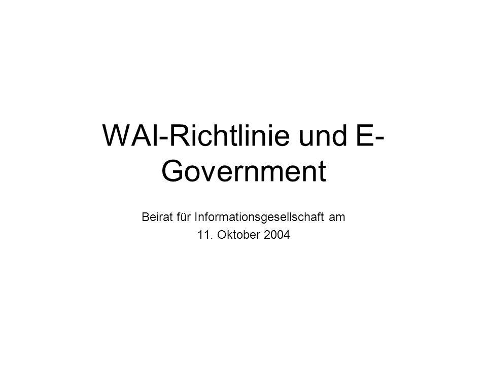 WAI-Richtlinie und E- Government Beirat für Informationsgesellschaft am 11. Oktober 2004