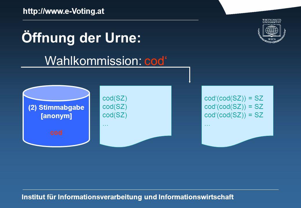 http://www.e-Voting.at Institut für Informationsverarbeitung und Informationswirtschaft Öffnung der Urne: (2) Stimmabgabe [anonym] cod cod(SZ)...