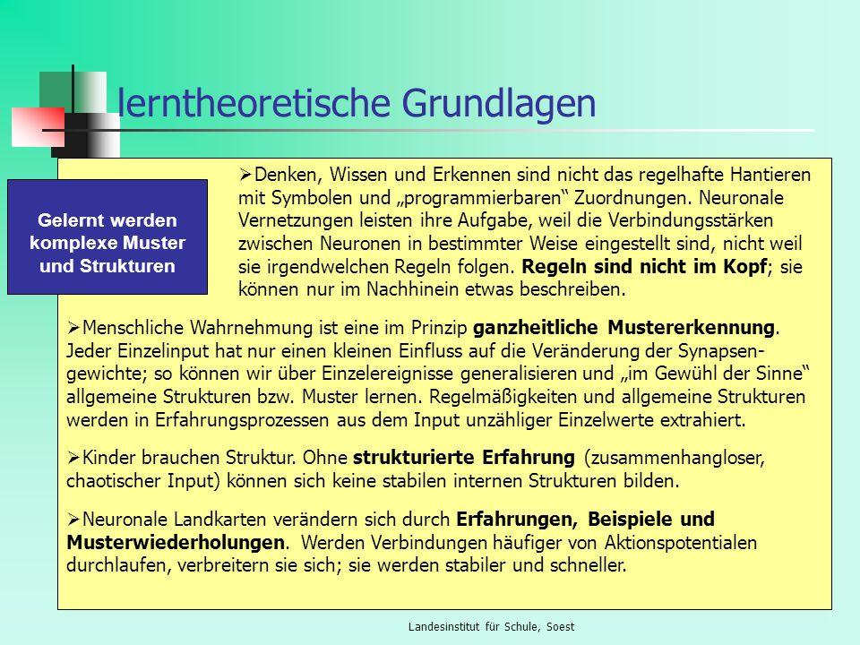Landesinstitut für Schule, Soest lerntheoretische Grundlagen Denken, Wissen und Erkennen sind nicht das regelhafte Hantieren mit Symbolen und programm
