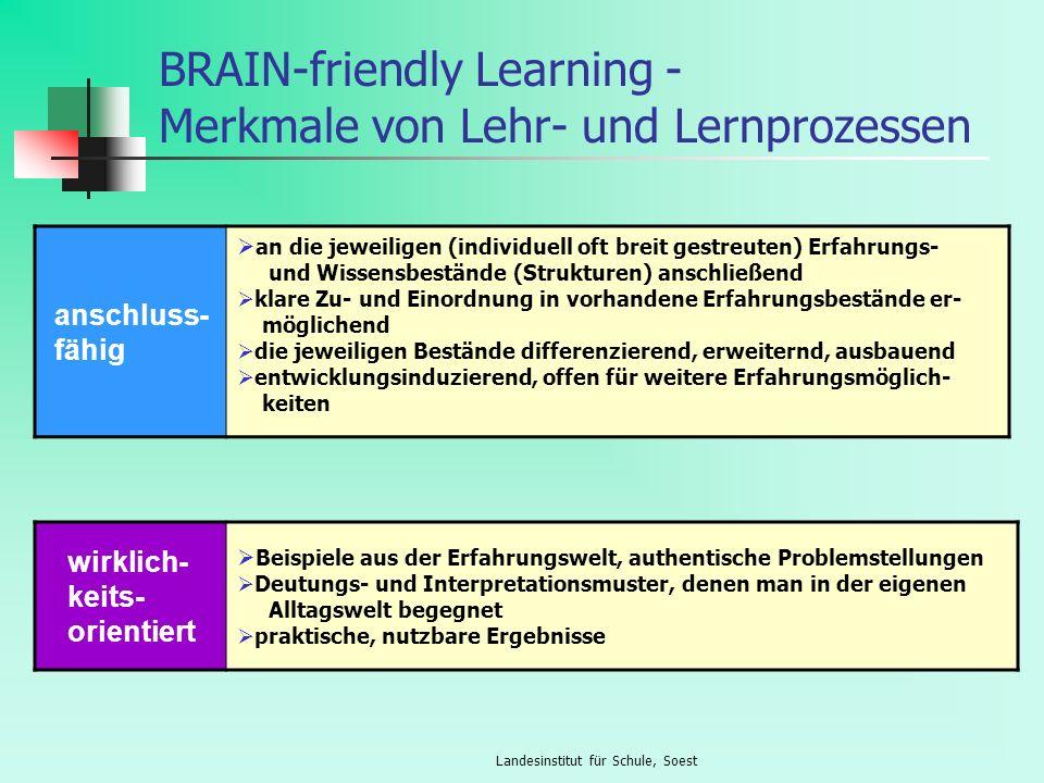 Landesinstitut für Schule, Soest BRAIN-friendly Learning - Merkmale von Lehr- und Lernprozessen anschluss- fähig an die jeweiligen (individuell oft br