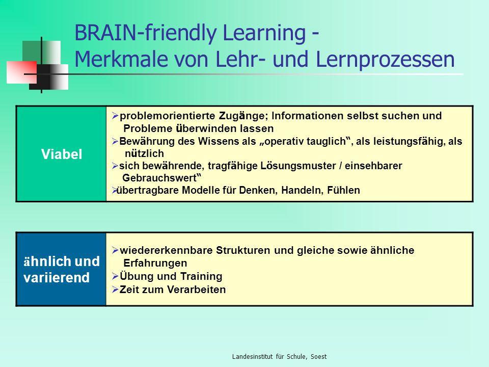 Landesinstitut für Schule, Soest BRAIN-friendly Learning - Merkmale von Lehr- und Lernprozessen Viabel problemorientierte Zug ä nge; Informationen sel
