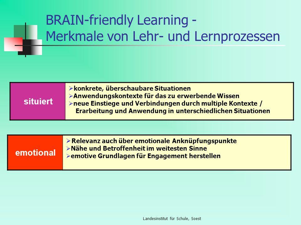 Landesinstitut für Schule, Soest BRAIN-friendly Learning - Merkmale von Lehr- und Lernprozessen situiert konkrete, überschaubare Situationen Anwendung