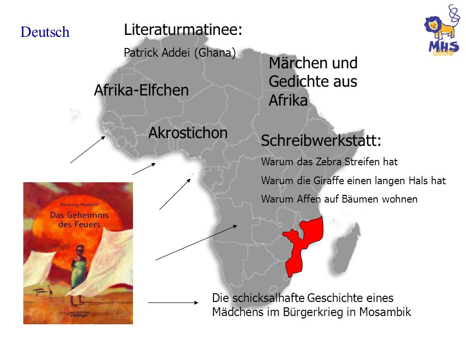 Deutsch Märchen und Gedichte aus Afrika Schreibwerkstatt: Warum das Zebra Streifen hat Warum die Giraffe einen langen Hals hat Warum Affen auf Bäumen