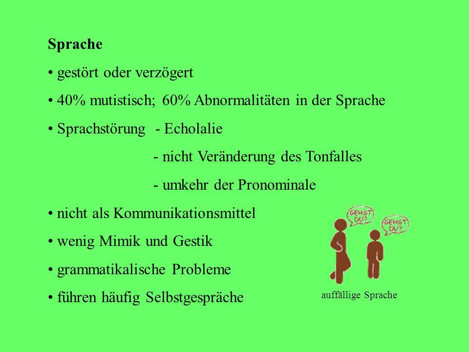 Symptome o Sprache o Sonderleistungen o Gefühle o Physiognomie o Ernährungsprobleme o epileptische Anfälle o zwischenmenschliche Beziehung o soziale V