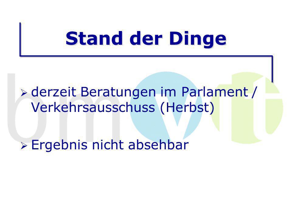 Stand der Dinge derzeit Beratungen im Parlament / Verkehrsausschuss (Herbst) Ergebnis nicht absehbar