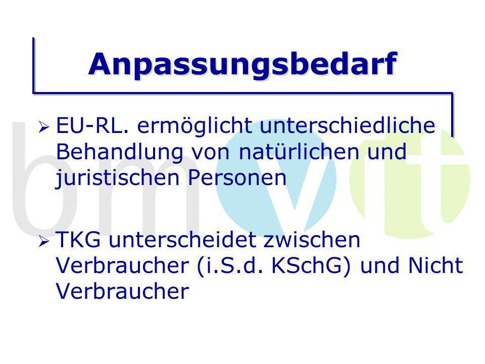 Anpassungsbedarf europarechtswidrige Unterscheidung im TKG ist zu beseitigen (Vertragsverletzungsverfahren) Derzeitige Unterscheidung streichen, oder Unterscheidung juristische und natürliche Personen