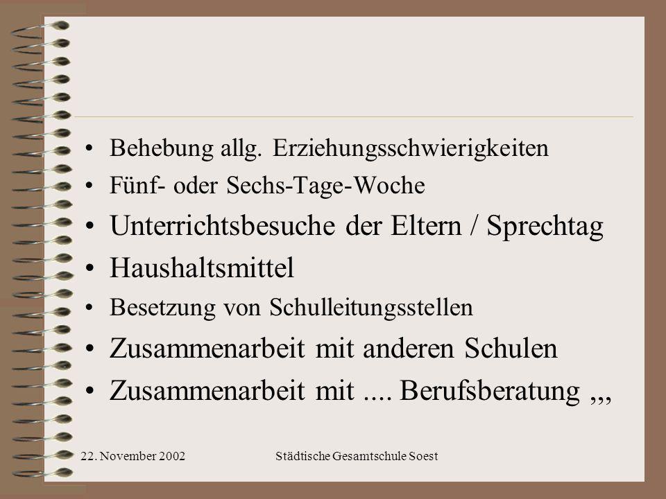 22. November 2002Städtische Gesamtschule Soest Behebung allg. Erziehungsschwierigkeiten Fünf- oder Sechs-Tage-Woche Unterrichtsbesuche der Eltern / Sp