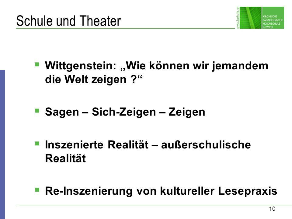 10 Schule und Theater Wittgenstein: Wie können wir jemandem die Welt zeigen ? Sagen – Sich-Zeigen – Zeigen Inszenierte Realität – außerschulische Real