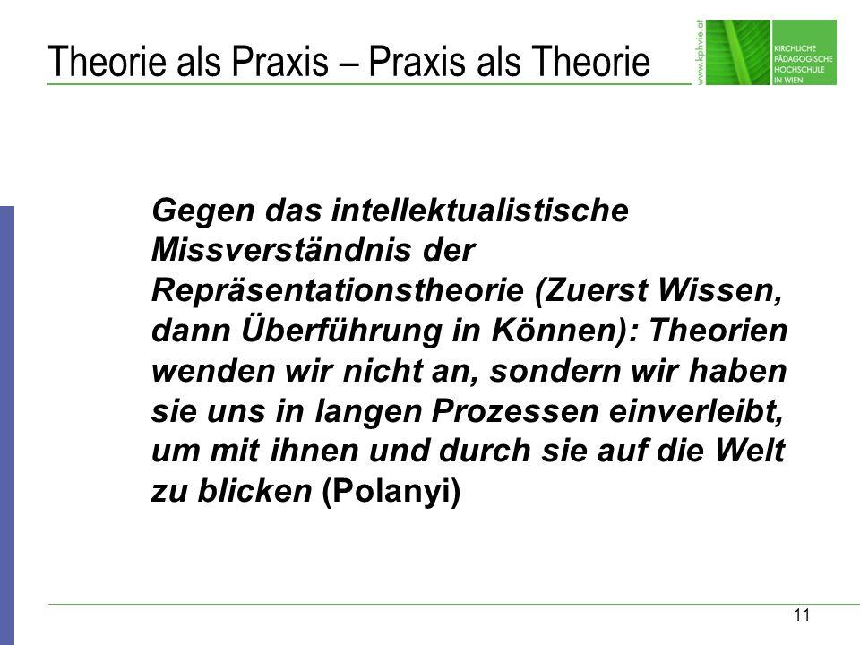 11 Theorie als Praxis – Praxis als Theorie Gegen das intellektualistische Missverständnis der Repräsentationstheorie (Zuerst Wissen, dann Überführung