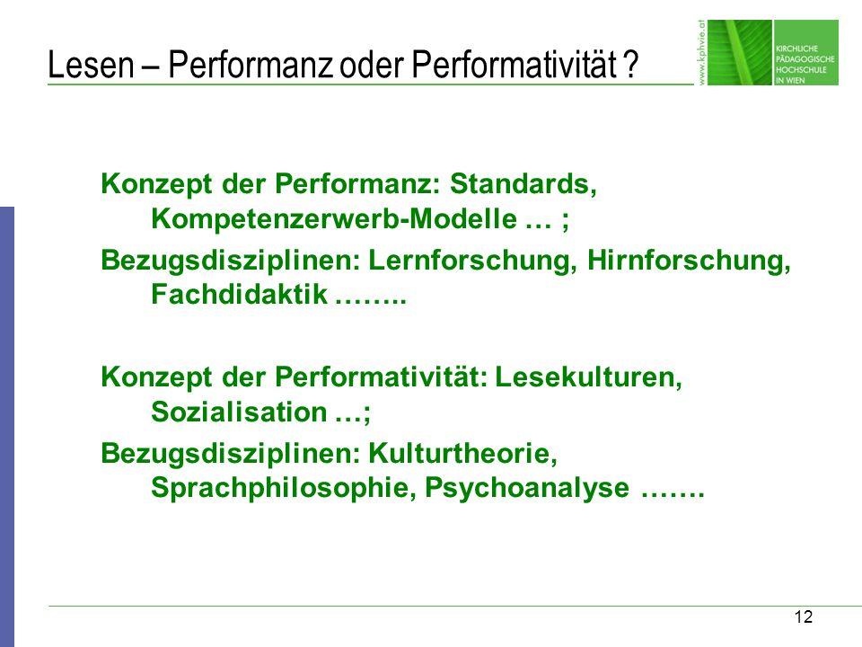 12 Lesen – Performanz oder Performativität ? Konzept der Performanz: Standards, Kompetenzerwerb-Modelle … ; Bezugsdisziplinen: Lernforschung, Hirnfors