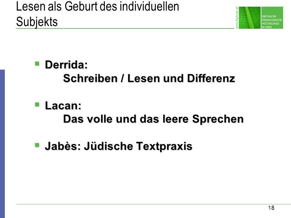 18 Lesen als Geburt des individuellen Subjekts Derrida: Derrida: Schreiben / Lesen und Differenz Lacan: Lacan: Das volle und das leere Sprechen Jabès: