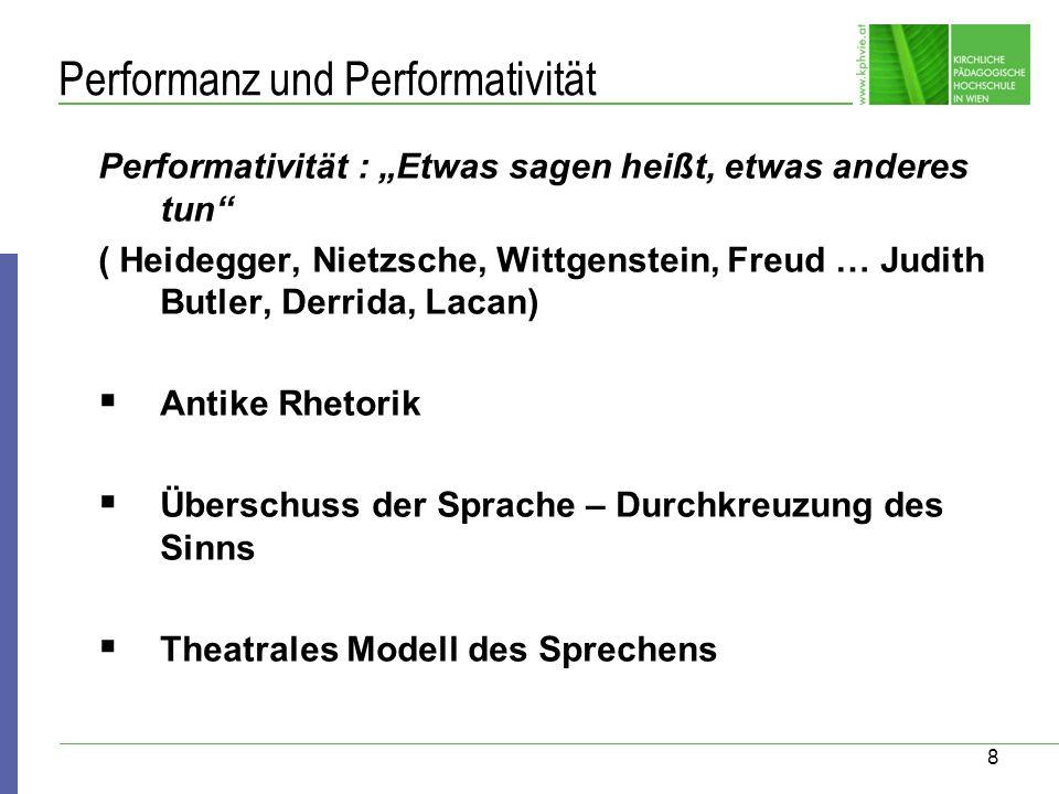 8 Performanz und Performativität Performativität : Etwas sagen heißt, etwas anderes tun ( Heidegger, Nietzsche, Wittgenstein, Freud … Judith Butler, D