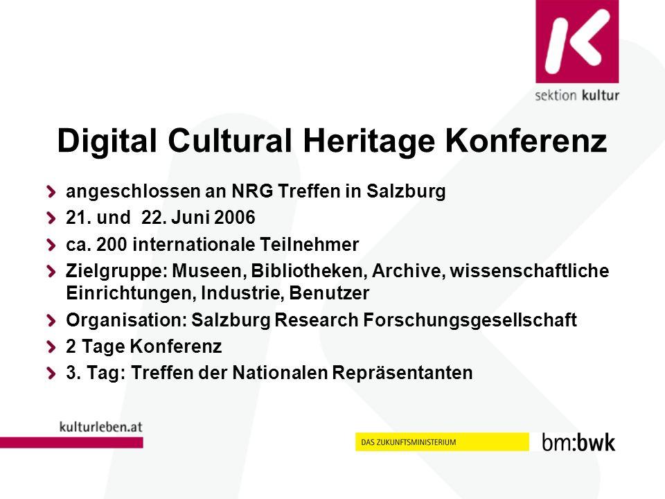 Digital Cultural Heritage Konferenz angeschlossen an NRG Treffen in Salzburg 21.