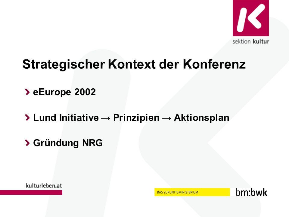 Strategischer Kontext der Konferenz eEurope 2002 Lund Initiative Prinzipien Aktionsplan Gründung NRG