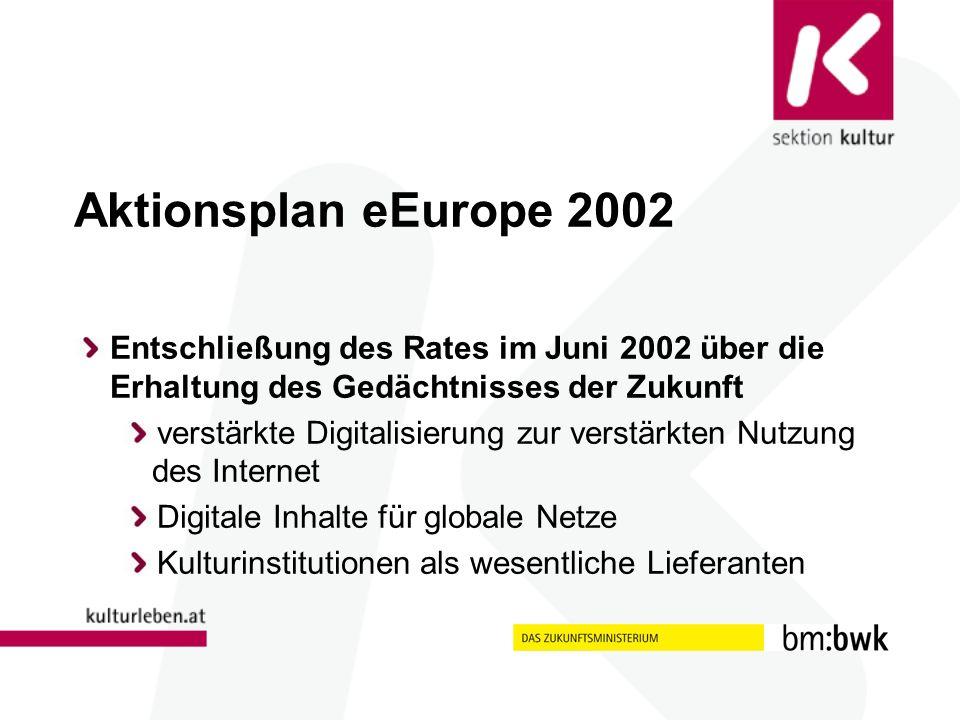 Aktionsplan eEurope 2002 Entschließung des Rates im Juni 2002 über die Erhaltung des Gedächtnisses der Zukunft verstärkte Digitalisierung zur verstärkten Nutzung des Internet Digitale Inhalte für globale Netze Kulturinstitutionen als wesentliche Lieferanten