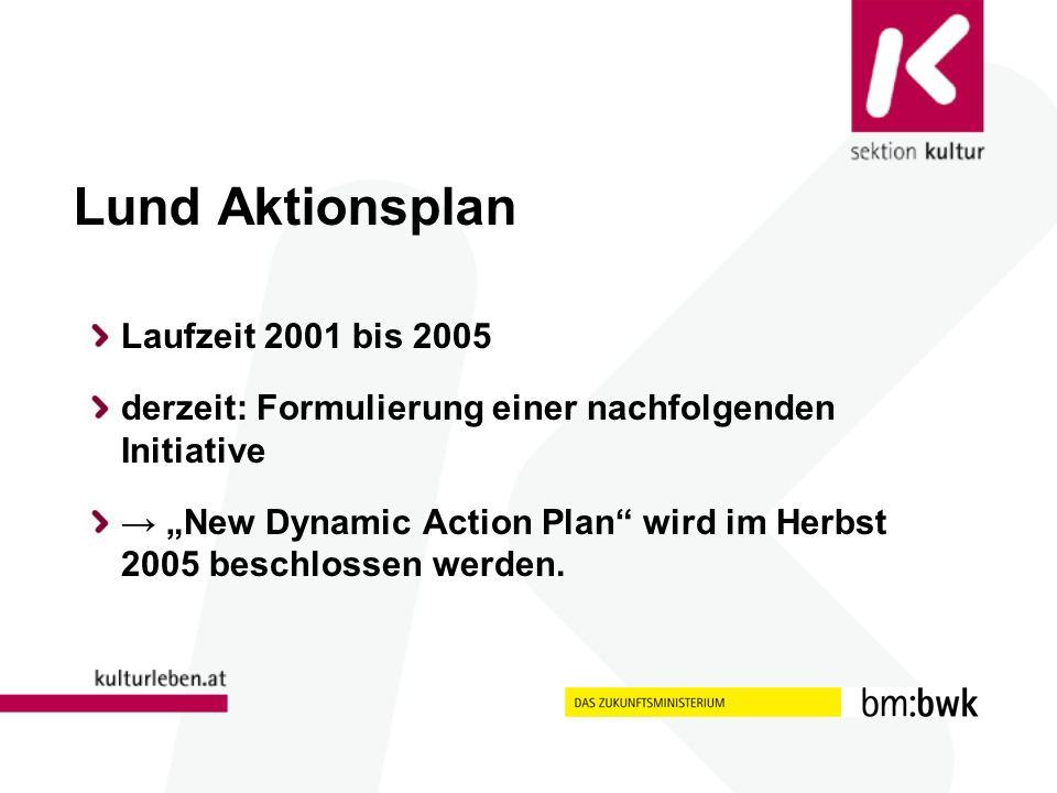 Lund Aktionsplan Laufzeit 2001 bis 2005 derzeit: Formulierung einer nachfolgenden Initiative New Dynamic Action Plan wird im Herbst 2005 beschlossen werden.
