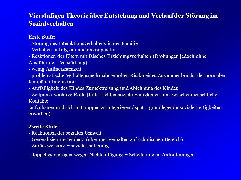 Vierstufigen Theorie über Entstehung und Verlauf der Störung im Sozialverhalten Erste Stufe: - Störung des Interaktionsverhaltens in der Familie - Ver