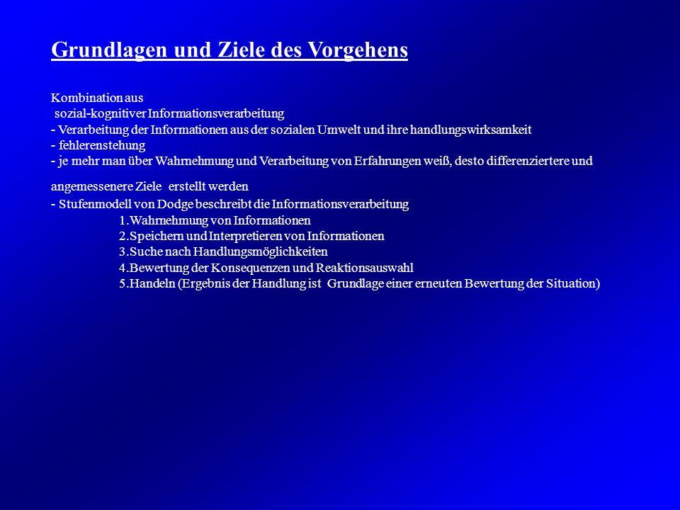 Grundlagen und Ziele des Vorgehens Kombination aus sozial-kognitiver Informationsverarbeitung - Verarbeitung der Informationen aus der sozialen Umwelt