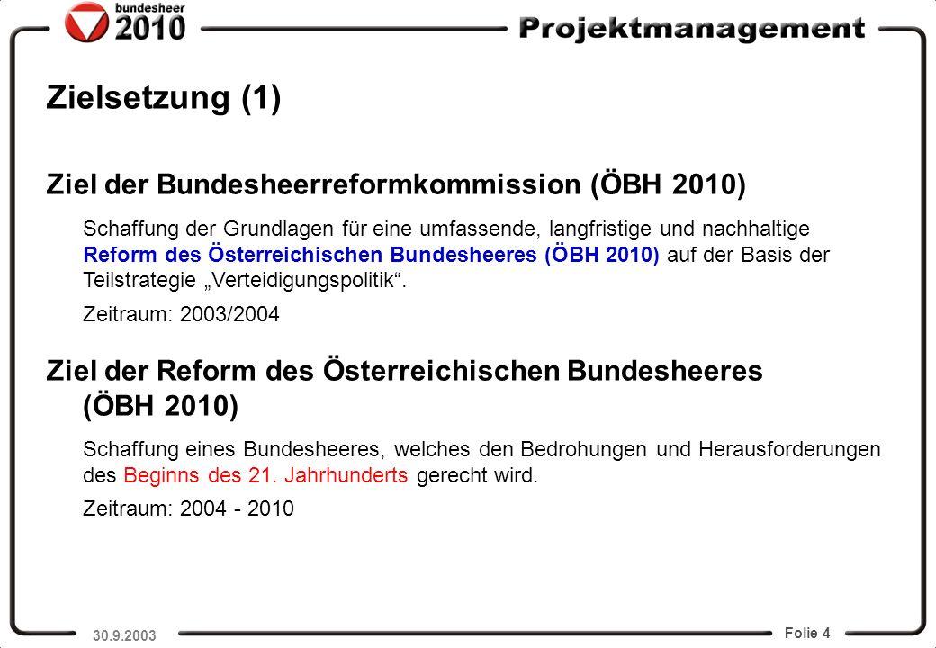 Folie 4 Zielsetzung (1) GenMjr Commenda Ziel der Bundesheerreformkommission (ÖBH 2010) Schaffung der Grundlagen für eine umfassende, langfristige und