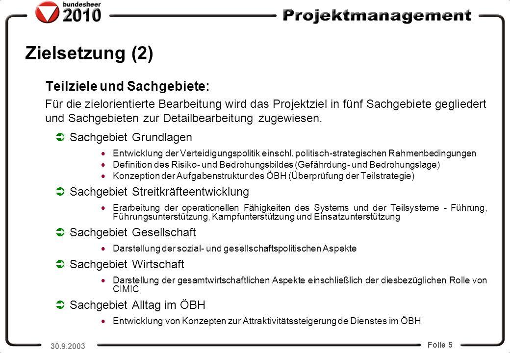 Folie 5 Zielsetzung (2) Teilziele und Sachgebiete: Für die zielorientierte Bearbeitung wird das Projektziel in fünf Sachgebiete gegliedert und Sachgeb