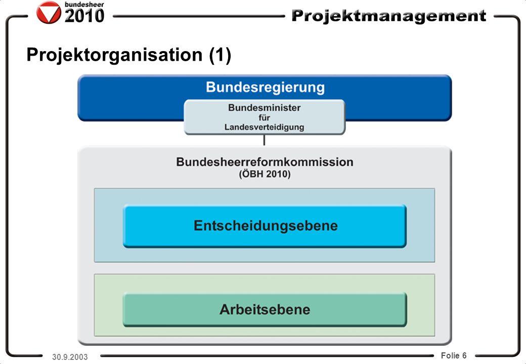 Folie 6 Projektorganisation (1) GenMjr Commenda 30.9.2003